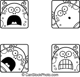 Scared Cartoon Sea Monster Icons