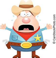 Scared Cartoon Sheriff