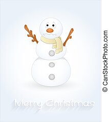 Scared Cartoon Snowman Character