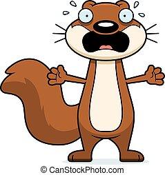 Scared Cartoon Squirrel - A cartoon illustration of a...