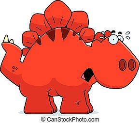 Scared Cartoon Stegosaurus