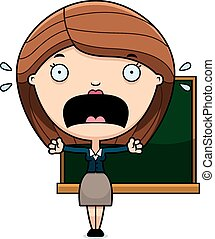 Scared Cartoon Teacher