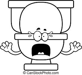 Scared Cartoon Toilet - A cartoon illustration of a toilet...