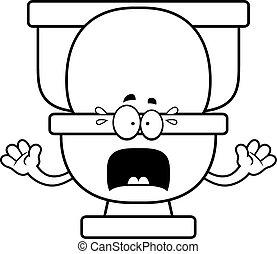 Scared Cartoon Toilet - A cartoon illustration of a toilet...