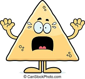 Scared Cartoon Tortilla Chip - A cartoon illustration of a...