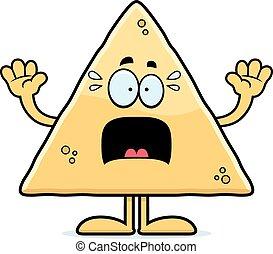Scared Cartoon Tortilla Chip - A cartoon illustration of a...