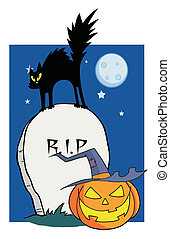 Scared Cat On A Tombstone - Black Cat And Jack O Lantern In...