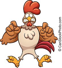 Scared chicken - Scared cartoon chicken. Vector clip art...
