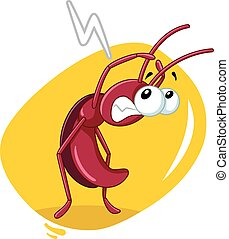 Scared Cockroach Insect Vector Cartoon