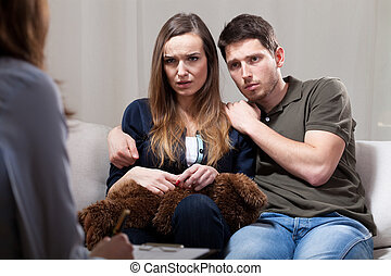 Scared couple during therapy