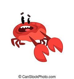 Scared crab character, cute sea creature with funny face vector Illustration on a white background