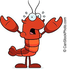 Scared Crawfish - A cartoon illustration of a crawfish...