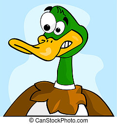 Scared duck - Cartoon illustration of a duck making a scared...