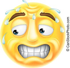 Scared Emoticon Emoji - A scared, worried or embarrassed...