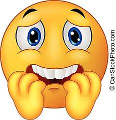 Scared emoticon smiley cartoon - Vector illustration of...