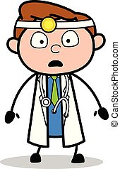 Scared Face - Professional Cartoon Doctor Vector Illustration