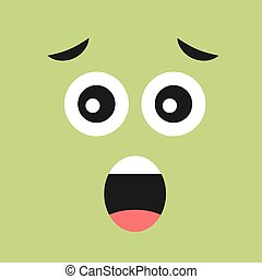 Scared face with open mouth on color background