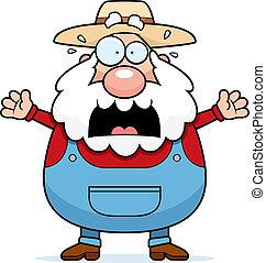 Scared Farmer - A cartoon farmer with a scared expression.