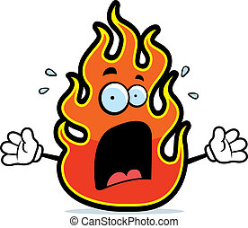 A cartoon flame with a scared expression.