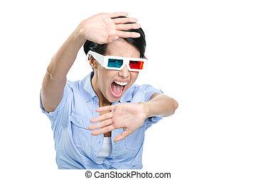 Scared girl in 3D glasses