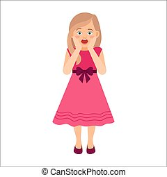 Scared girl in pink dress