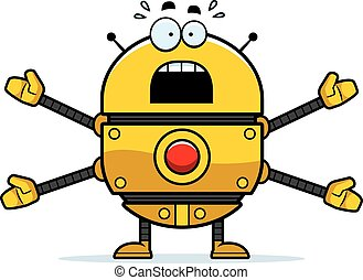 Scared Gold Robot