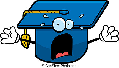 A cartoon graduation cap with a scared expression.