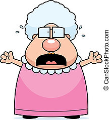 A cartoon grandma with a scared expression.