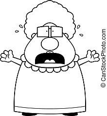 Scared Grandma - A cartoon grandma with a scared expression.