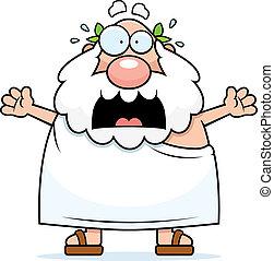 Scared Greek Philosopher - A cartoon Greek philosopher with...