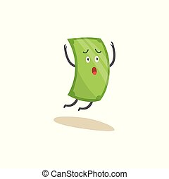 Scared green dollar bill character running away and falling, American currency money icon with worried face jumping in air