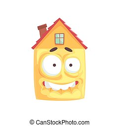 Scared house cartoon character showing bared teeth, funny facial expression emoticon vector illustration