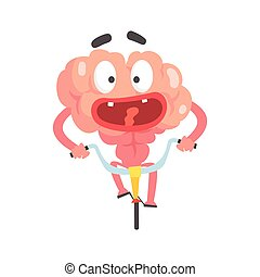 Scared humanized cartoon brain character riding on a bicycle, intellect human organ vector Illustration