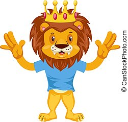 Scared lion, illustration, vector on white background.
