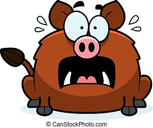 Scared Little Boar - A cartoon illustration of a boar...