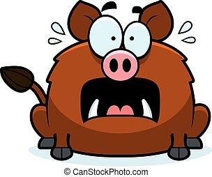 Scared Little Boar - A cartoon illustration of a boar...