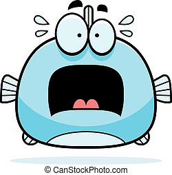 Scared Little Fish - A cartoon illustration of a fish...