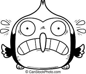Scared Little Woodpecker - A cartoon illustration of a...