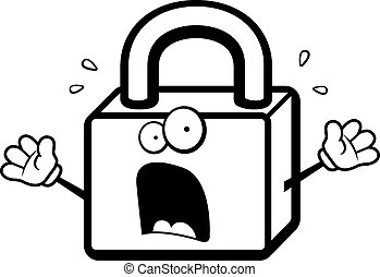 A cartoon lock with a scared expression.