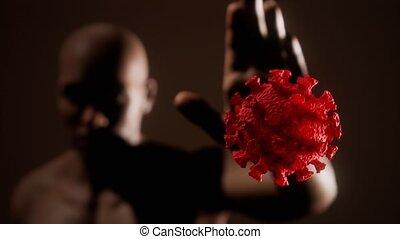 scared man gesturing stop afraid of coronavirus COVID-19 ...