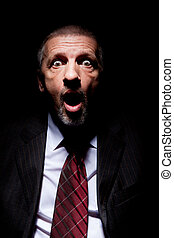 Scared man in business suit