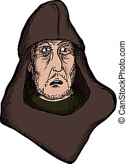 Scared Medieval Man - Scared medieval man with hood on...