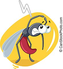 Scared Mosquito Insect Vector Cartoon
