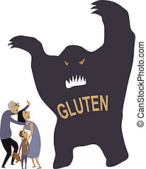 Scared of gluten - Monster representing gluten put a family...