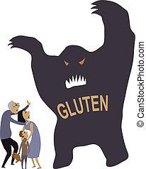 Monster representing gluten put a family in panic, vector illustration