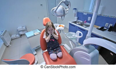 Scared patient - Little girl being scared in the office of...