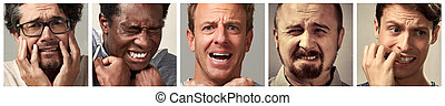 Scared people faces set