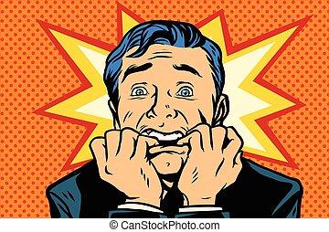 scared people, human emotions. Comic book cartoon pop art retro vector illustration drawing