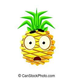 Scared pineapple face. Cute cartoon emoji character vector Illustration