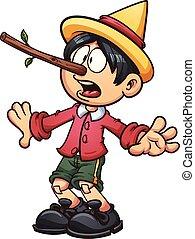 Scared Pinocchio - Pinocchio with a big nose. Vector clip...